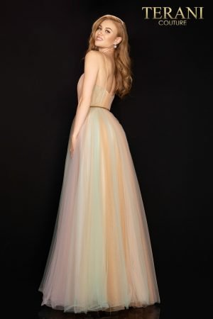 Tricolor glittering rouched tulle ball gown with a thin gold belt  –  2017P1310