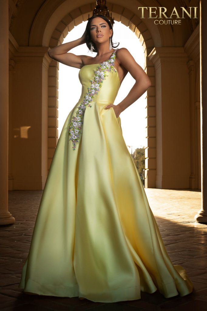 One shoulder Mikado ball gown with floral ribbon embroidery - 2017P1421