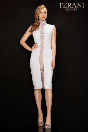 High neck illusion panel beaded cocktail dress – 2011C2006