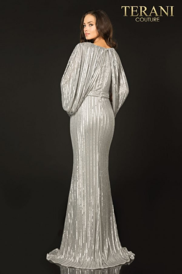 Style: Elegant caped slim knit Mother of Bride dress with bead detail and a slit – 2011M2154
