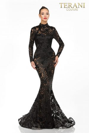 Sheer Lace Black Formal Dress – 1813E6346