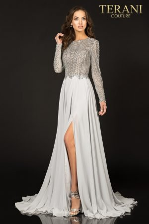 High Slit Long Sleeved Dress – 1813M6703