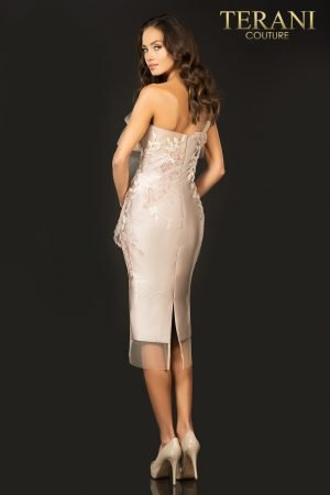 Three tone one shoulder Mikado cocktail dress – 2011C2003