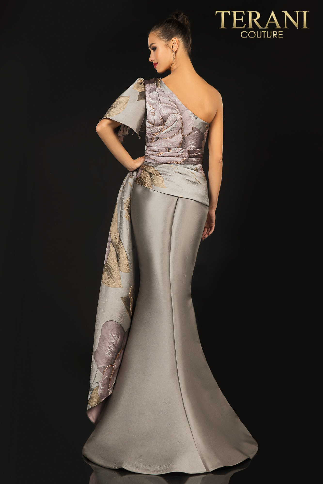 Style: Printed Jacquard one shoulder evening gown with sash – 2011E2100