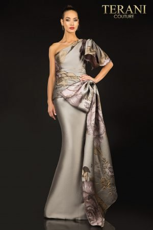 Floral Printed Jacquard one shoulder evening gown with sash – 2011E2100