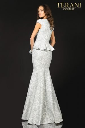Cap sleeveed Mother of Bride gown with bow detail – 2011M2166