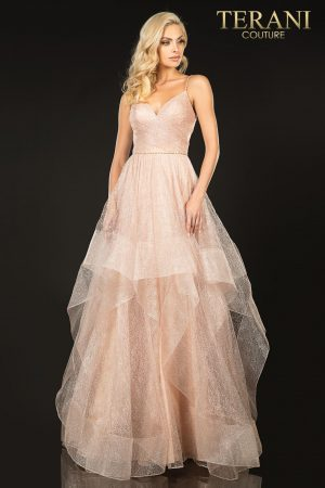 Long tulle textured prom ball gown –  2011P1213