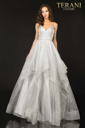 Terani Couture Silver Long tulle prom ball gown – Style number 2011P1213
