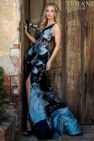 Evening Large Print, Beaded Waist, Wrap Slit Skirt – 2021E2788