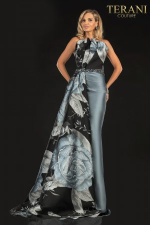 Evening Print Jacquard And Solid Combo, Side Tail – 2021E2789