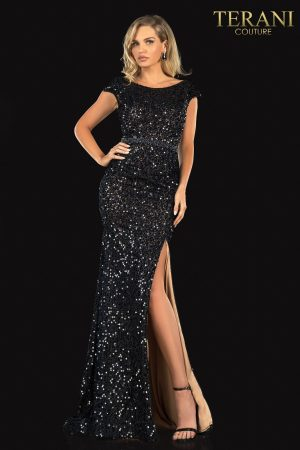 Evening Sequin Lace Scoop Neck, Bead Belt – 2021E2817