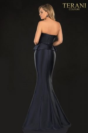 Evening Strapless Mock Two-Piece Look, 3D Flower Detail – 2021E2832