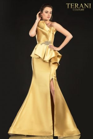 Evening Structured Strapless Gown, Peplum, And Beads – 2021E2833