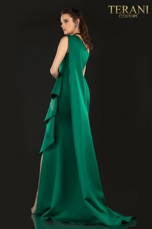 Evening, One Shoulder Satin Long, Ruffle Detail – 2021E2839