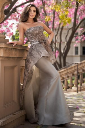Evening Strapless Gown With Overskirt – 2021E2865