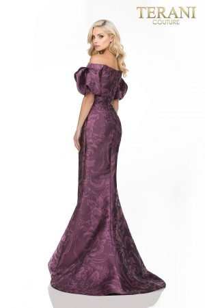 Mother Of The Bride Jacquard Pattern Gathered Off Shoulder, Slit Skirt – 2021M2965
