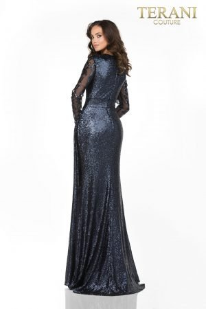 Mother Of The Bride All Sequin Long Sleeve, Wrap Skirt – 2021M3579