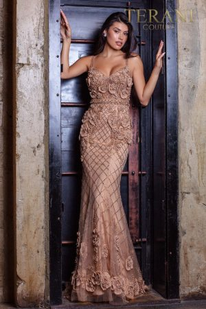 Open back beaded pageant dress with chiffon roses – 2011GL2216