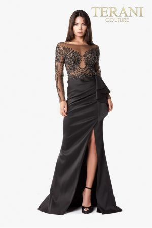 Full Length Black Evening Dress With A Sheer Embellished Bodice – 2021E2878