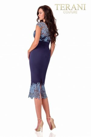 Navy Blue Cocktail Dress With Lace Detail – 2027C2709