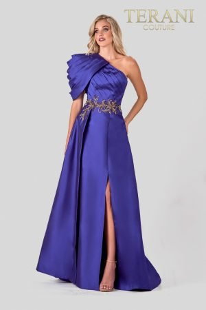 Asymetric Royal Evening Dress With Pleating – 2027E2925