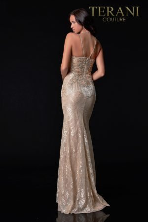 Shiny Silver Nude Evening Dress With Beaded Fringe At The Waist Line – 2027E2930