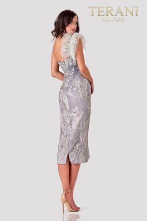 One Shoulder Silver Cocktail Dress – 2111C4557
