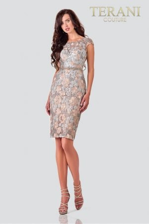Pewter Bronze Cocktail Dress In Lace – 2111C4559