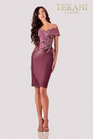 Knee Length Mauve Wine Cocktail Dress – 2111C4560