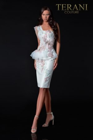 Asymmetric Ivory Cocktail Dress With Embroidery – 2111C4562