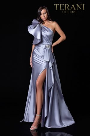 Pewter Evening Dress With Glitz And Glamor – 2111E4728