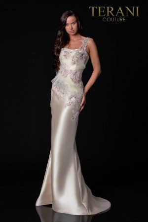 Almond Champagne Evening Dress With 3D Flower Detail – 2111E4744