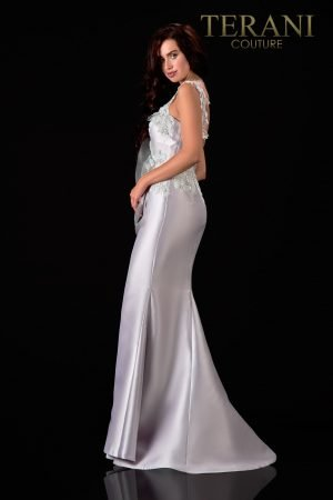 One Shoulder Satin Silver Sage Evening Dress – 2111E4760