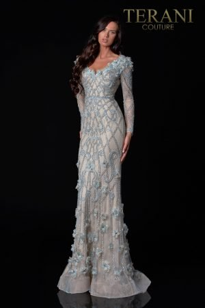 A Line Champagne Blue Pageant Gown With 3D Flowers – 2111GL5021