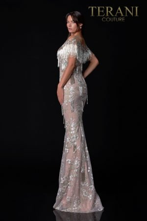 Silver Sage Blush Pageant Gown With Beaded Fringe – 2111GL5036