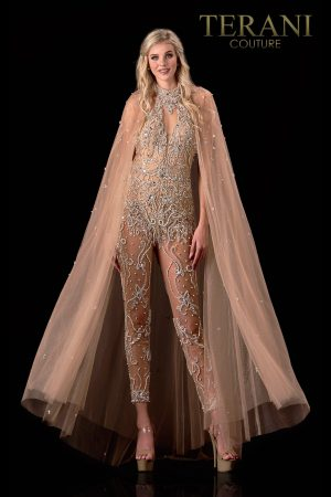 Nude Pageant Gown With Embellished Cape – 2111GL5047