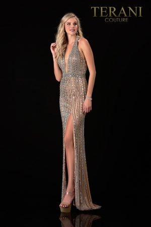 Silver Nude Pageant Gown With Crystal Detail – 2111GL5062