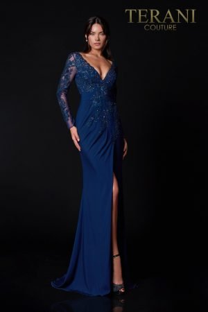 Navy Mother Of The  Bride Dress With Applique – 2111M5275