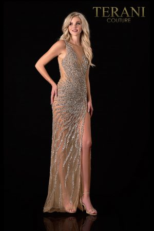 Glittery Silver Nude Prom Dress – 2111P4048