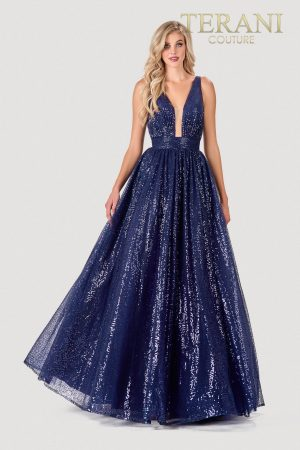 Shimmery Navy Nude Prom Dress – 2111P4113