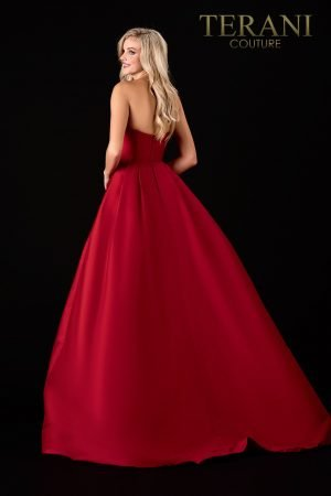 Glamorous Strapless Red Evening Dress – 2112E4923