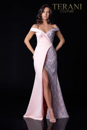 Exquisite Off-Shoulder Rose Pewter Evening Dress – 2112E4937