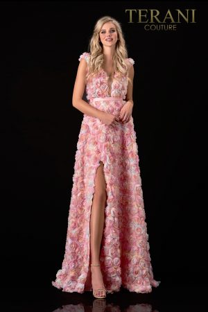 Plunging Floral Blush Prom Dress – 2112P4322