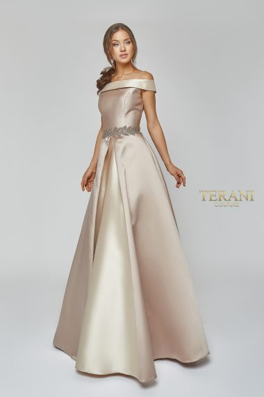 Mother of the Bride Two Tone Mikado off Shoulder Ball Gown - 1921M0505